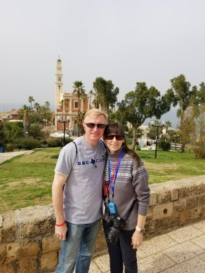 Kelly and I overlooking the historic church and the Mediterranean Sea